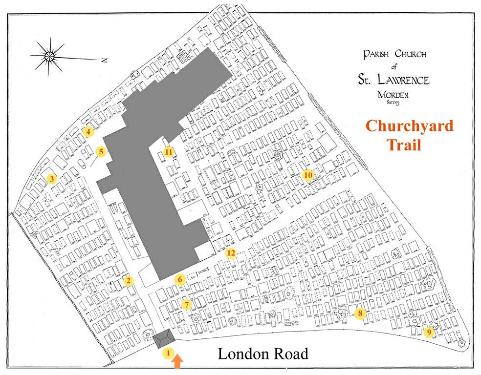 Map of St Lawrence Churchyard with trail points shown.